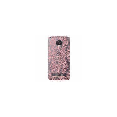Capa Transparente Exclusiva Para Motorola Moto Z2 Play Renda Rosa - Tp284