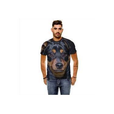 ac4ea5e52 Camiseta Cachorro Pinscher Preto Marrom Masculina Slim