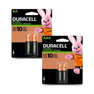 Kit 2 Pilha Duracell Alcalina AAA + 2 AA Recarregável