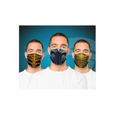 Kit 3 Máscaras Estampada Em Tecido Duplo Lavável - Mortal Kombat