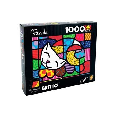 Imagem de Quebra Cabeça Puzzle 1000 Peças Romero Britto Cat Grow