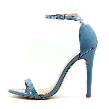 Sandália Royalz Verniz Paola Salto Alto Fino Tira Azul  feminino