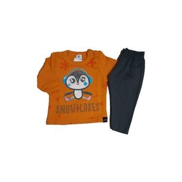 Conjunto Moletom Pinguim Mostarda Menina Infantil Só Vestir