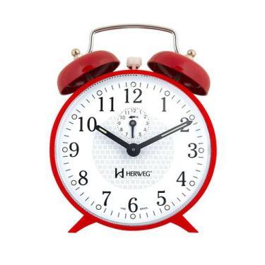 Imagem de Relógio Despertador Antigo Mecânico A Cordas vermelho Alice - Herweg
