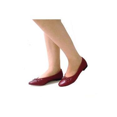 Sapatilha Feminina Bico Redondo com Lacinho em Couro Carrano 143303
