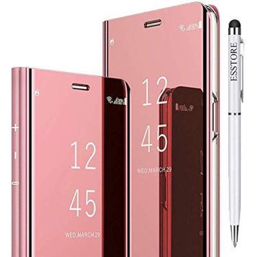 Capa para smartphone ESSTORE-EU para Samsung Galaxy A71, ultrafina, semitransparente, espelhada, com função de suporte, ouro rosa