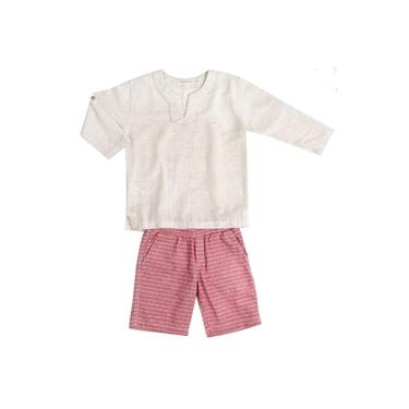 Conjunto Infantil Menino Bata Cru e Bermuda Vermelha - GG