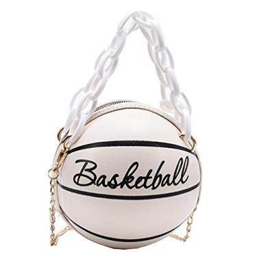 Bolsa de mão Valicclud moderna em forma de basquete, bolsa de mão transversal moderna, Off-white, 17x17x17cm