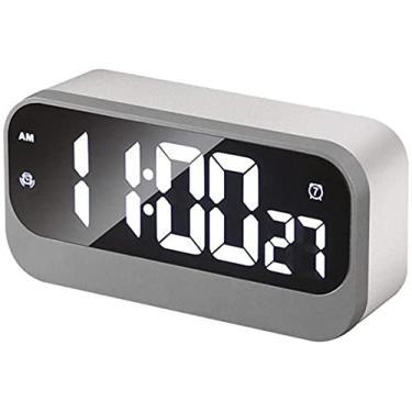 Imagem de Despertador Espelho Cronômetro Despertador Despertador Simples Despertador Mudo Relógio de Cabeceira Quarto Escritório Presente Criativo para Mesa de Cabeceira