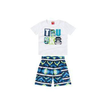 Conjunto Kyly Camiseta e Bermuda Truck Branco e Azul V17 108711