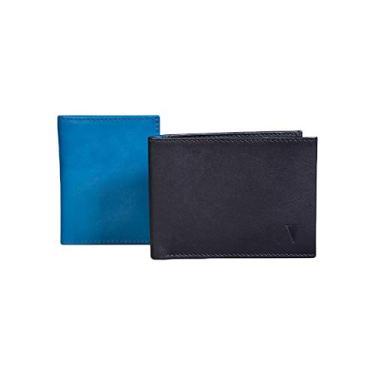 Carteira executiva preta com azul