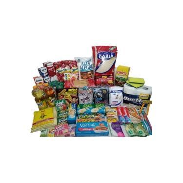 Cesta Básica Completa Alimentos Limpeza Higiene - 46 Itens
