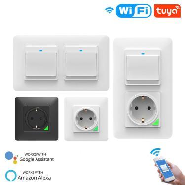 MoesHouse Interruptor de parede inteligente com luz WiFi Tomada Botão de saída DE UE Smart Life Tuya sem fio Controle Re Banggood