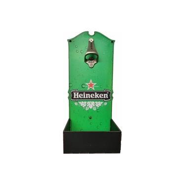 Imagem de Abridor de Garrafa De Parede Cerveja Heineken Caixa Mdf Decoração Abridor Garrafas Bar