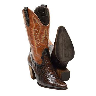 Bota Feminina Texana cano alto estampa cobra couro 2614 café caramelo (33, 2614 café caramelo)