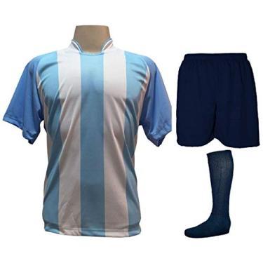 Imagem de Fardamento Completo modelo Milan 18+2 (18 Camisas Celeste/Branco + 18 Calções Madrid Marinho + 18 Pares de Meiões Marinho + 2 Conjuntos de Goleiro) + Brindes