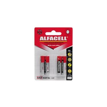 Jogo de pilhas comuns palito Alfacell AAA 1.5V 4 peças