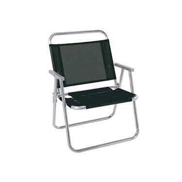 Cadeira de Praia Dobrável Oversize Alumínio 2153 Preta - Mor