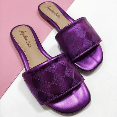 Rasteira Hope Shoes Slide Paris Roxo Metalizado  feminino