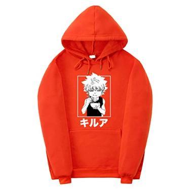 Novo moletom com capuz divertido Hunter x Hunter Merch Manga Killua Cosplay Anime H X H Suéter com capuz Jaqueta para amantes, Laranja, M