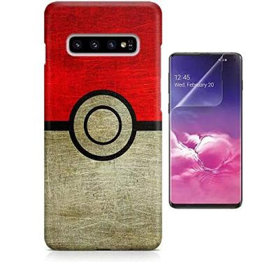 Kit Capa Case TPU Galaxy S10+ Plus Pokémon Pokebola Pokeball + Pel Vidro (BD01)