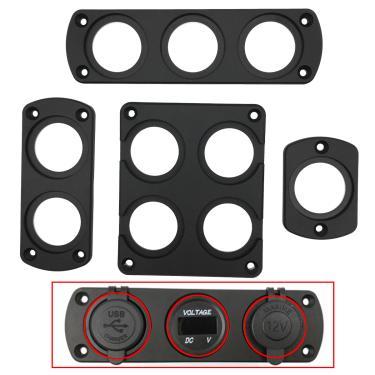 Diy carro usb painel carregador interruptor voltímetro tomada de energia isqueiro titular suporte
