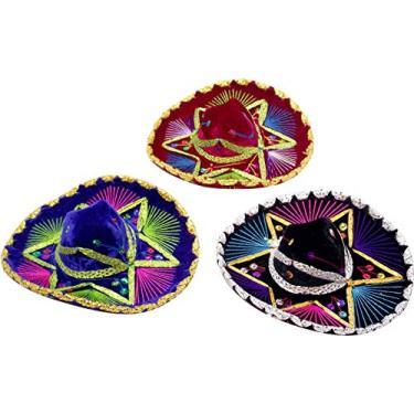 """Boné decorativo Charro Sombrero, Mariachi mexicano – Conjunto com 3, Multicolored, 8"""""""