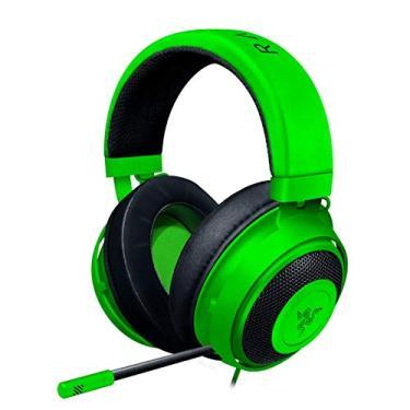 Fone de ouvido para jogos Razer Kraken: armação de alumínio leve – microfone isolante de ruído retrátil – para PC, PS4, Nintendo Switch – conector de fone de ouvido de 3,5 mm – verde