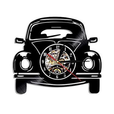 Imagem de relógio de parede Relógio de parede de vinil, tema moderno com formato de carro, relógio de parede clássico retro para carro familiar, decoração para casa, arte