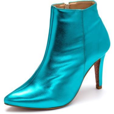 Bota D Rastro Cano Curto Bico Fino Com Zíper Azul  feminino