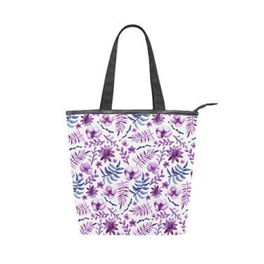 Bolsa feminina de lona durável para aquarela, flores violetas, folhas de grande capacidade, bolsa de ombro para compras