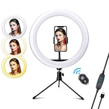 Adaskala 26 cm / 10 polegadas LED video ring light com 3 modos de iluminação reguláveis 2700K-6500K Fonte de alimentação USB, com adaptador de esfera, suporte para celular, suporte para celular, suporte para tripé