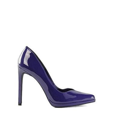 Scarpin SHEPZ clássico verniz salto alto bico fino azul escuro