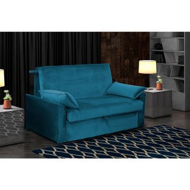 Sofá Cama Cristal 2 Lugares Matrix - Veludo Azul Escuro