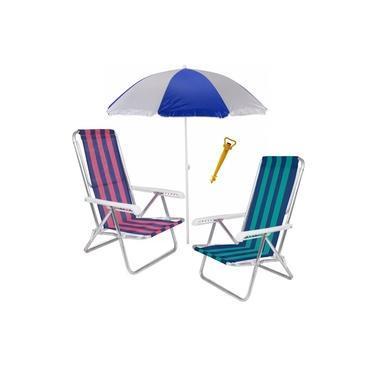 Kit Praia 2 Cadeira Reclinável 8 Posições Alumínio + Guarda Sol 1,8m + Saca Areia - Mor