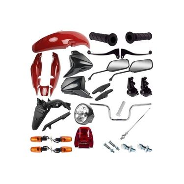 Kit Carenagem + Kit Guidao Pisca Cg 125 Fan 2009/10 Vermelho