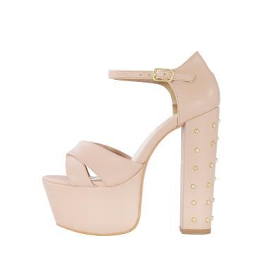 Sandália Salto 15 Week Shoes Meia Pata Nude Com Cravo Dourado  feminino