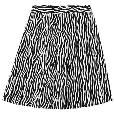 Saia plissada feminina NAWONGSKY, PP-2GG, Black Zebra, S