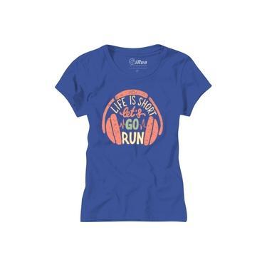 T-Shirt Camiseta Feminina Baby Look Algodão - Life is Short Lets Go Run