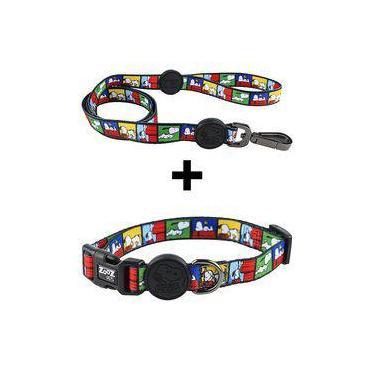 Conjunto Guia e Coleira para Cachorro Snoopy Quadrinho Zooz Pet
