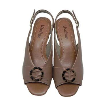 Sandália Salto Baixo Usaflex Carmel Marrom