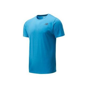 Camiseta de Manga Curta New Balance Heathertech | Masculino Azul - P