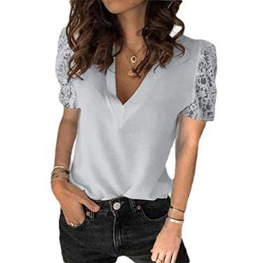 Jotebriyo Casaco de moletom feminino de cor sólida de manga comprida/curta com cardigã de renda, 6, XX-Large