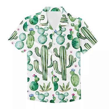 Camisa havaiana masculina de manga curta com estampa exclusiva para o verão, Cacto branco verde claro, 3XL