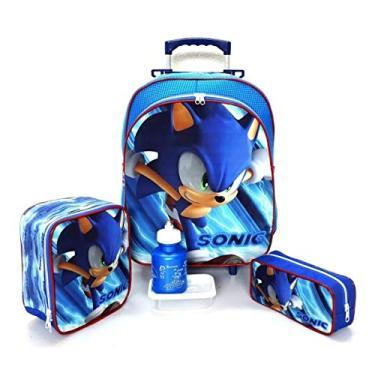 Imagem de Kit Mochila Infantil Escolar Sonic Rodinhas Tam G F5 Meninos