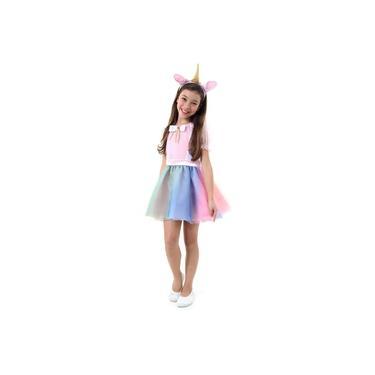 Imagem de Fantasia Unicórnio Infantil Vestido c/ Tiara Luxo Sulamericana - 33631