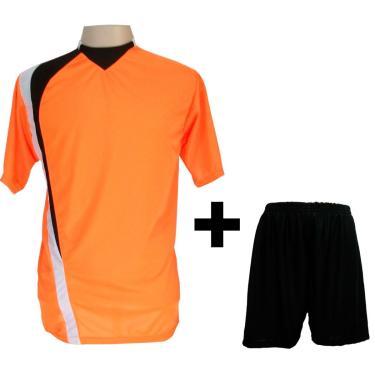 Imagem de Uniforme Esportivo Com 14 Camisas Modelo Psg Laranja/Preto/Branco + 14 Calções Modelo Madrid Preto + Brindes