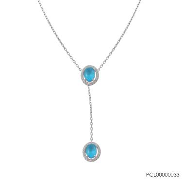 61ea9d001b8 Jjóias Premium Comprar · COLAR EM PRATA COM PINGENTE PEDRA OVAL PCL0000033  - Azul