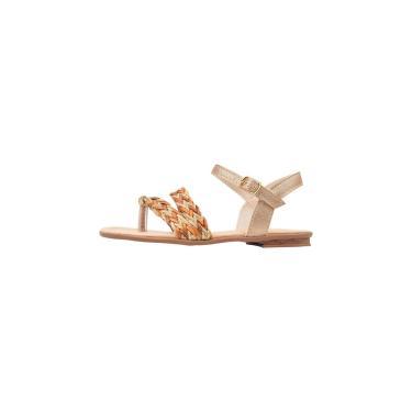 Imagem de Sandália Rasteira Infantil Menina Tiras Dedo Juta Dourado  feminino