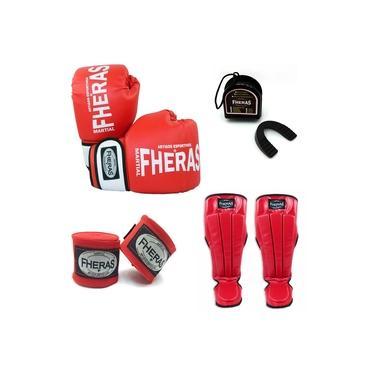 Kit Boxe Muay Thai Orion - Luva Bandagem Bucal Caneleira - Vermelho/Branco